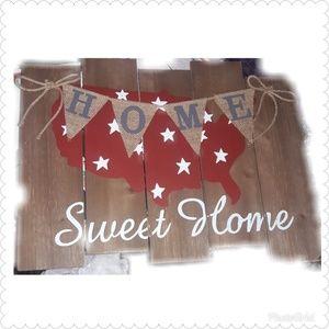 """Home Sweet Home"" Patriotic wall Art"